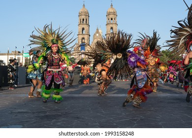 Zapopan Jalisco Mexico - October 13, 2019: Women are dancing in homage to the Virgin, in front of the Basilica of Zapopan.