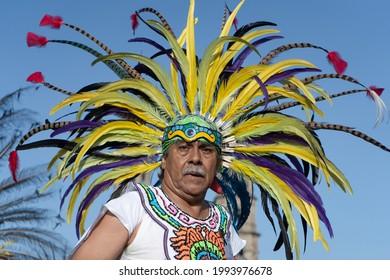 Zapopan Jalisco Mexico - October 13, 2019: Man is dancing at the feast of the Virgin of Zapopan.