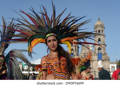 Zapopan Jalisco Mexico - October 13, 2019: Aztec dancer is sweating a lot after dancing at Zapopan Virgin party.