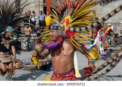 Zapopan Jalisco Mexico - October 13, 2019: The man dances happily at the feast of the Virgin of Zapopan.