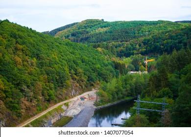 Zapora na rzece Sure (power plant) in Sure river, near Esch-sur-Sure, Luxembourg