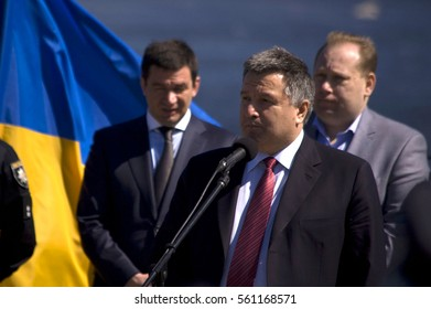 ZAPORIZHIA, UKRAINE - April 16, 2016: Arsen Avakov, the Minister of Interior, at ceremony of taking an oath by the members of the new patrol police on Hortica island in ZAPORIZHIA