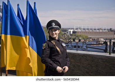 ZAPORIZHIA, UKRAINE - April 16, 2016: Ceremony of taking an oath by the members of the new patrol police on Hortica island in ZAPORIZHIA