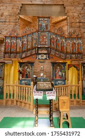 Zaporizhia Ukraine - June 6, 2020: Interior of the Church of the Intercession of the Holy Virgin on the island of Khortytsya in Zaporozhye. Ukraine. Wooden church.