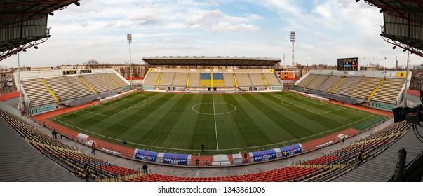 Zaporizhia, UKRAINE - March 16, 2019: General view of the stadium - Slavutych Arena before game Zorya vs Shakhtar Donetsk