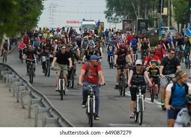ZAPORIZHIA, UKRAINE – MAY 27, 2017: Grand cycling ride in Main Street of city in ZAPORIZHIA, UKRAINE