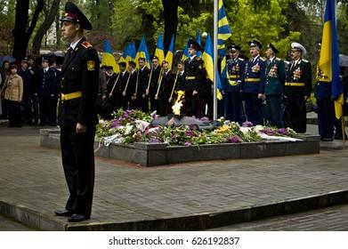 ZAPORIZHIA, UKRAINE – May 9, 2015: Celebration of victory in World War II at the monument of victory in ZAPORIZHIA, UKRAINE