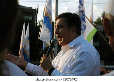 ZAPORIZHIA, UKRAINE September 21, 2017: Mikheil Saakashvili political meeting with people in square in center of city in Ukraine