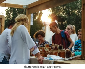 "Zaporizhzhia / Ukraine - SEP 16, 2018: Exhibition place of participants from Ternopil with home canning at the ""All-Ukrainian Festival of Homemade Canning"" (annual event and trade fair in Zaporozhye)."