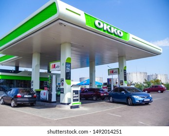 Zaporozhye, Ukraine - August, 26, 2019: OKKO fuel station near Zaporozhye:. OKKO is a leading Ukrainian company, whose core business is the retail sale of fuel and related products