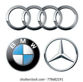 ZAPOROZHYE, UKRAINE - DECEMBER 20, 2017: logos popular German brands of cars: Mercedes, BMW and Audi, printed on paper