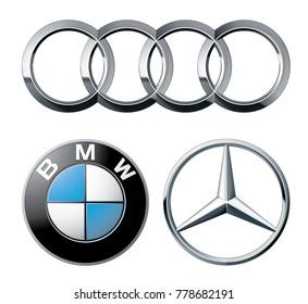 ZAPOROZHYE, UKRAINE - DECEMBER 20, 2017: logos popular German brands of cars: Mercedes, BMW and Audi, printed on paper