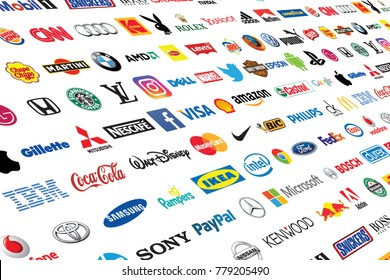 ZAPOROZHYE, UKRAINE - DECEMBER 20, 2017: Photo of a logotype collection of well-known world brand's printed on paper. Include Coca-Cola, Canon, Pepsi, Twitter, Apple and more others logo.