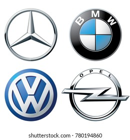 ZAPOROZHYE, UKRAINE - DECEMBER 20, 2017: logos popular German brands of cars: Mercedes, BMW,Volkswagen and Opel, printed on paper