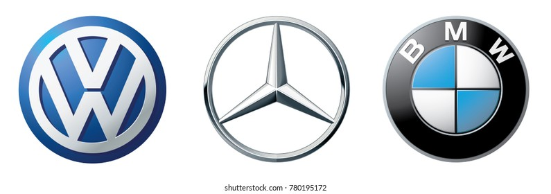 ZAPOROZHYE, UKRAINE - DECEMBER 20, 2017: Logos collection of different brands of cars: Mercedes, BMW, Volkswagen, printed on paper
