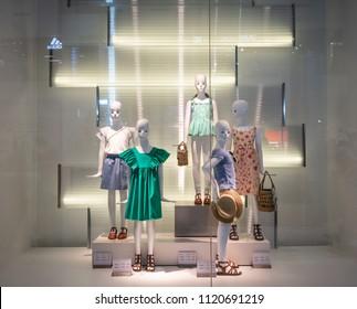 Zara Kids shop at Mega Bangna, Bangkok, Thailand, Jun 2, 2018 : Fashionable kids clothing brand window display in front of the shop.
