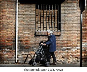 Zaragoza, España, 2018:  old woman on the street
