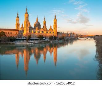 Zaragoza - The cathedral Basilica del Pilar at dusk.