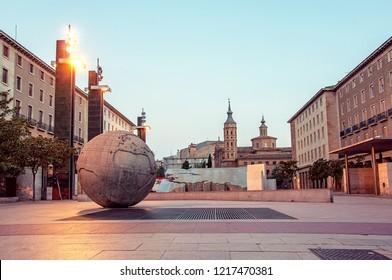 Zaragoza (Saragossa). Spain. Cityscape. Plaza del Pilar in the capital city of of Aragon.