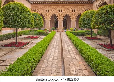 ZARAGOZA, SPAIN - 12 APRIL, 2010: Gardens of the aljaferia alcazar of Zaragoza Spain on 12 April, 2010.