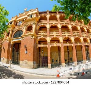 ZARAGOZA, SPAIN - 14 JULY 2018: Plaza de toros Bullfighting Coliseum palace in Zaragoza, Spain