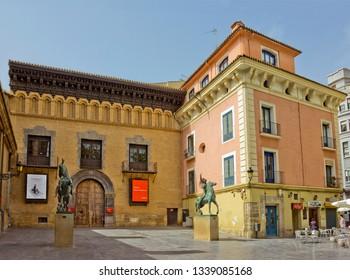 Zaragoza, Spain - April 22, 2018: Pablo Gargallo Museum on San Felipe Square at the Argillo Palace, House of Francisco Sanz de Cortes