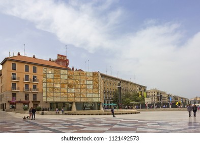 ZARAGOZA, SPAIN - APRIL 24, 2018: Pillar Plaza with modern buildings and many people around