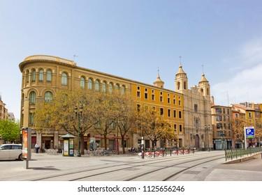 ZARAGOZA, SPAIN - APRIL 24, 2018: Cityscape with historical building of Superior Court of Justice of Aragon (former Palacio de los Luna)