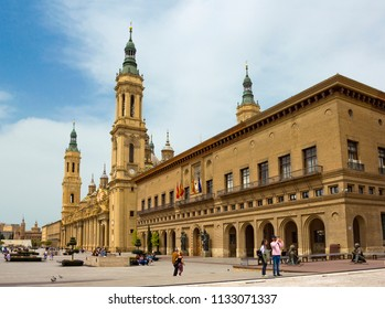 ZARAGOZA, SPAIN - APRIL 24, 2018: Basilica of Our Lady of the Pillar