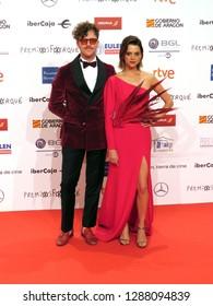 ZARAGOZA, SPAIN - January 12, 2019: Forque Awards 2019 - Red Carpet. Aldo Comas and Macarena Gómez