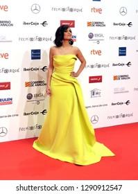 ZARAGOZA, SPAIN - January 12, 2019: Forque Awards 2019 - Red Carpet. Elena S. Sánchez