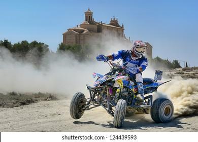 ZARAGOZA, SPAIN - JUL 21 : Beto Borrego and his Yamaha YFZ 450 R, races in Baja Spain, on Jul 21, 2012 in Zaragoza, Spain