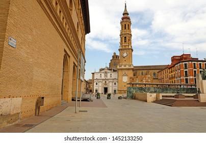 ZARAGOZA, SPAIN - JULY 1, 2019: Cathedral of the Savior of Zaragoza in Plaza del Pilar sqaure, Spain