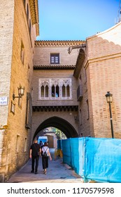 ZARAGOZA, SPAIN - July 2018: Arch and House of the Dean in Zaragoza, Spain