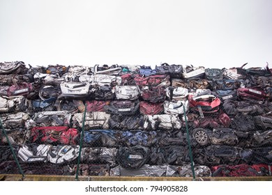 Zaragoza, Spain - June 16, 2017: Cars stacked in Scrapping on the outskirts of Zaragoza city in Spain