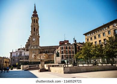 ZARAGOZA, SPAIN - June 2018: Bell tower of Cathedral of the Savior of Zaragoza (La Seo de Zaragoza) at Pillar Square (Plaza del Pilar), Aragon, Spain
