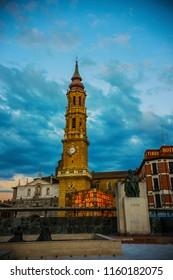 ZARAGOZA, SPAIN - June 2018: Evening view of Cathedral of the Savior of Zaragoza (La Seo de Zaragoza) at Pillar Square (Plaza del Pilar), Aragon, Spain