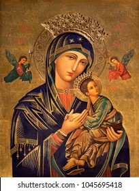 ZARAGOZA, SPAIN - MARCH 1, 2018:  The painting  of Madonna - Our Lady of Perpetual Help in church Iglesia del Perpetuo Socorro by pater Jesus Faus (1953 - 1959).