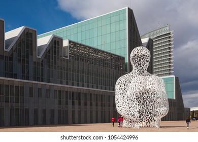 ZARAGOZA, SPAIN - MARCH 3, 2018: The modernsculpture Alma del Ebro sculpture (The Soul of the Ebro) in front of Congress palace - Palacio de Congresos by sculptor Jaume Plensa (2008).