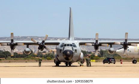 ZARAGOZA, SPAIN - MAY 20,2016: Belgian Air Force C-130 Hercules transport airplane on the tarmac off Zaragoza airbase.