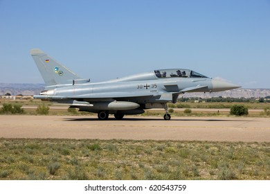 ZARAGOZA, SPAIN - MAY 20,2016: German Air Force Eurofighter EF2000 Typhoon fighter jet plane taxiing after landing on Zaragoza airbase.