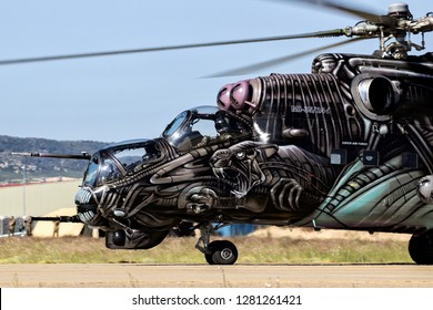 ZARAGOZA, SPAIN - MAY 20,2016: Special painted Czech Republic Air Force Mil Mi-24 Hind attack helicopter taxiing on Zaragoza airbase.