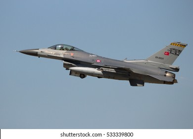 ZARAGOZA, SPAIN - MAY 20,2016: Turkish Air Force F-16 fighter jet taking off from Zaragoza airbase.