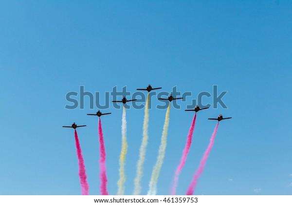 ZARAGOZA, SPAIN - MAY 21: Aerobatic Spanish patrol (Eagle Patrol) perform at an airshow (Open day of the airbase Zaragoza) on May 21, 2016 in Zaragoza, Spain