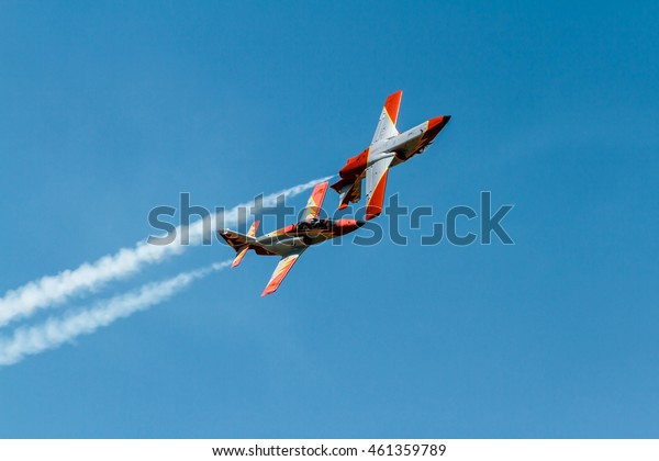 ZARAGOZA, SPAIN - MAY 21: Aerobatic Spanish patrol (Eagle Patrol) perform at an airshow (Open day of the airbase Zaragoza) on May 21, 2016 in Zaragoza, Spain