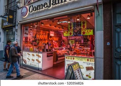 ZARAGOZA, SPAIN - OCTOBER, 2016: Cityscape. Butcher's Store and bar.