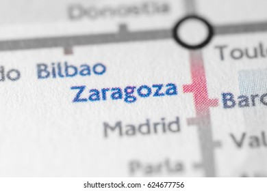 Zaragoza, Spain on a geographical map.