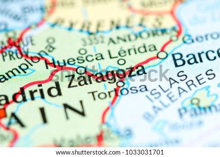 Zaragoza Map Of Spain.Zaragoza Spain On Map Stock Photo Edit Now 1033031701 Shutterstock