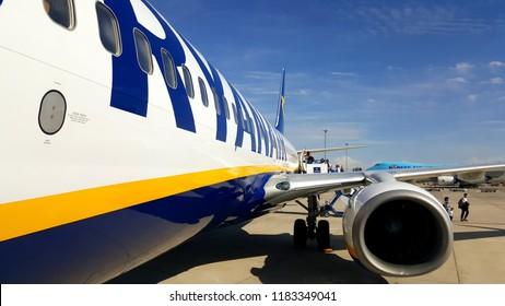 ZARAGOZA, SPAIN - SEPTEMBER 18, 2018: Ryanair Boeing 737-800 at Zaragoza Airport Before Take-Off