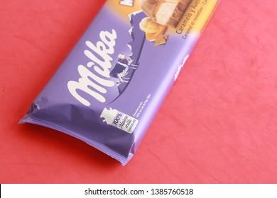 Zaragoza Spain. September 18, 2018, chocolate milka tablet